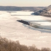 The Ohio River frozen across in January - taken from Patriot, Indiana.