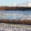 Floes of ice floating down the Ohio River