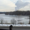 A view from John Street of the Ohio river frozen across.
